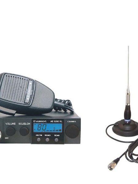 Kit Statie radio auto CB Albrecht AE 5290XL + Antena PNI ML100 + baza magnetica