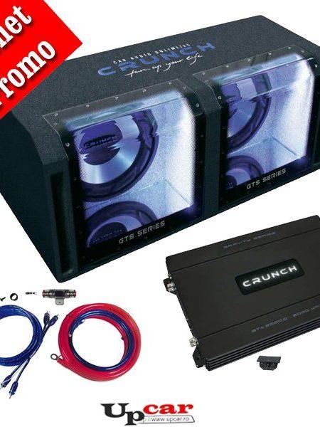 Pachet bass subwoofer Crunch Bandpass  GTS-800, 800W RMS + Amplificator Crunch GTX-2000D, mono + CADOU set cabluri RCA 35mm