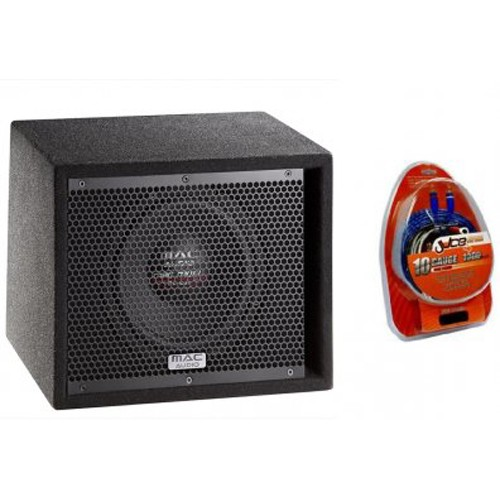 Pachet subwoofer activ Mac Audio Street Bass, 80W RMS + Kit de cabluri 8mm