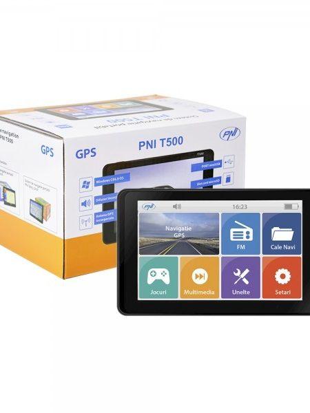 Sistem de navigatie portabil PNI T500, diagonala 5 inch, fara harta, 800 MHz, 256M DDR3, 8GB memorie interna, FM transmitter