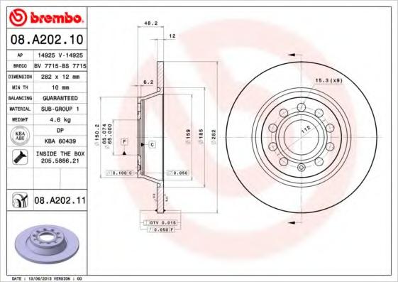Disc frana BREMBO 08.A202.11