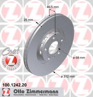 Disc frana ZIMMERMANN 100.1242.20
