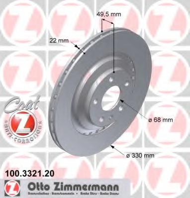 Disc frana ZIMMERMANN 100.3321.20