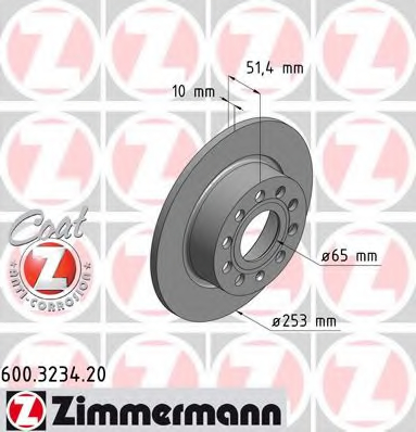 Disc frana ZIMMERMANN 600.3234.20