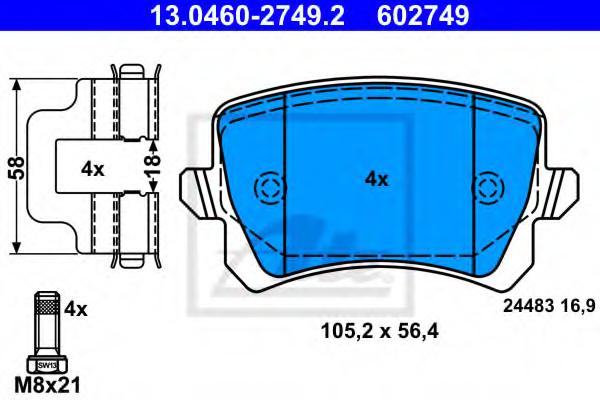 Set placute frana ATE 13.0460-2749.2