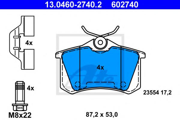 Set placute frana ATE 13.0460-2740.2