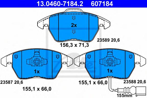 Set placute frana ATE 13.0460-7184.2
