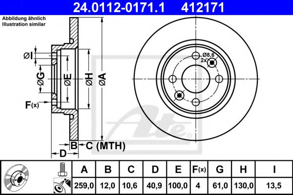 Disc frana ATE 24.0112-0171.1