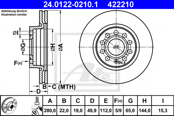 Disc frana ATE 24.0122-0210.1