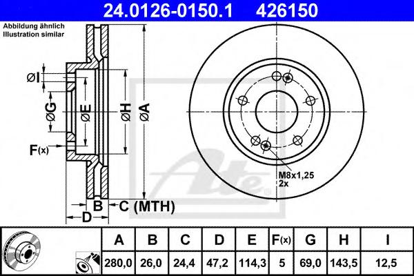 Disc frana ATE 24.0126-0150.1