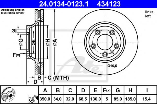 Disc frana ATE 24.0134-0123.1