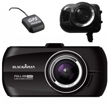 Camera Auto Dubla cu GPS iUni Dash M20 Blackman Full HD