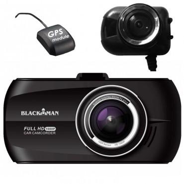 Camera Auto Dubla cu GPS iUni Dash M20 Blackman Full HD