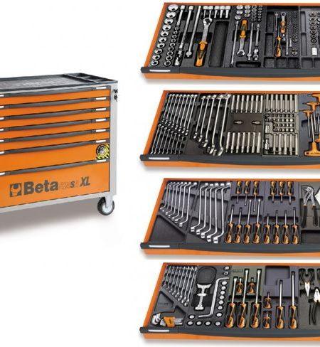 Dulap extra-lung cu 7 sertare si 300 scule mecanica auto BETA C24SA-XL/7 + 300 PT