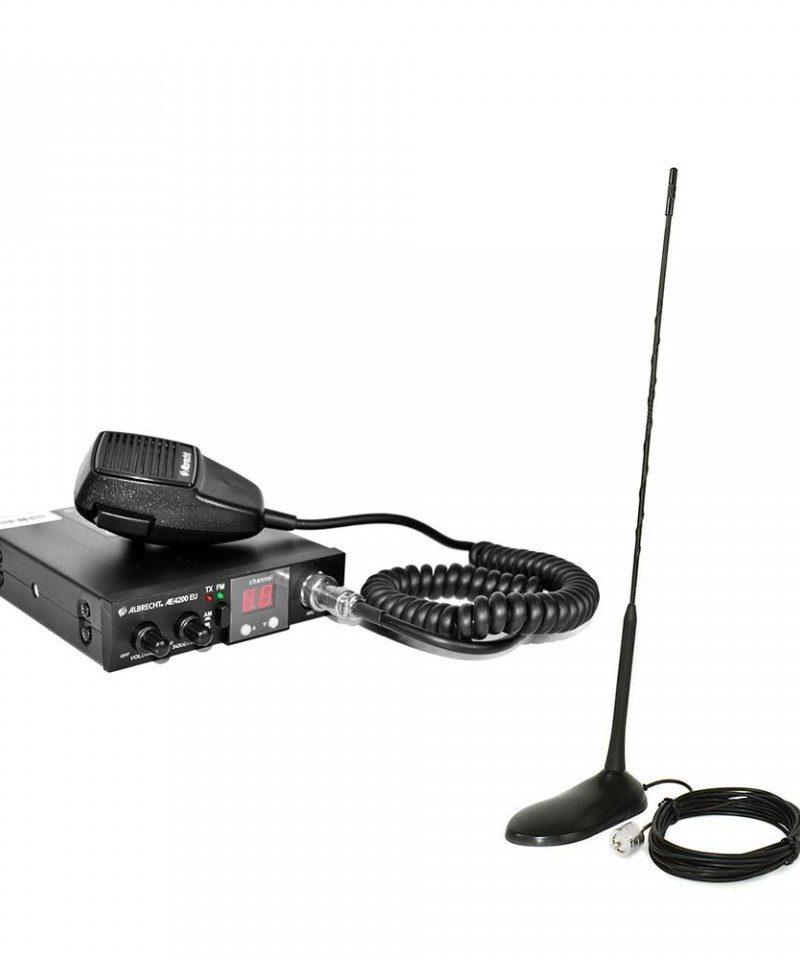 Kit Statie radio auto CB Albrecht 4200 EU RO ASQ + Antena CB PNI Extra 45