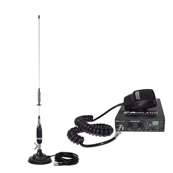 Kit Statie radio auto CB Midland Alan 100 Plus + Antena CB PNI S75 + baza magnetica