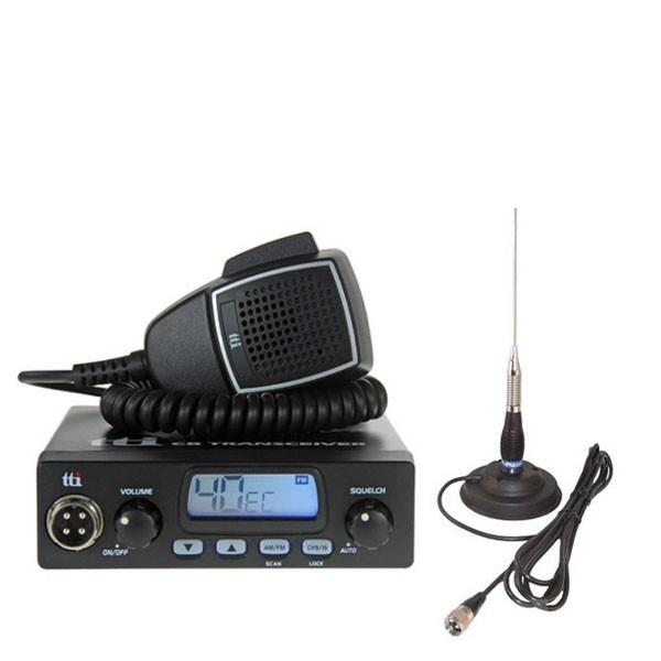 Kit Statie radio auto CB TTi TCB-550, ASQ Squelch Automat + Antena CB PNI ML100