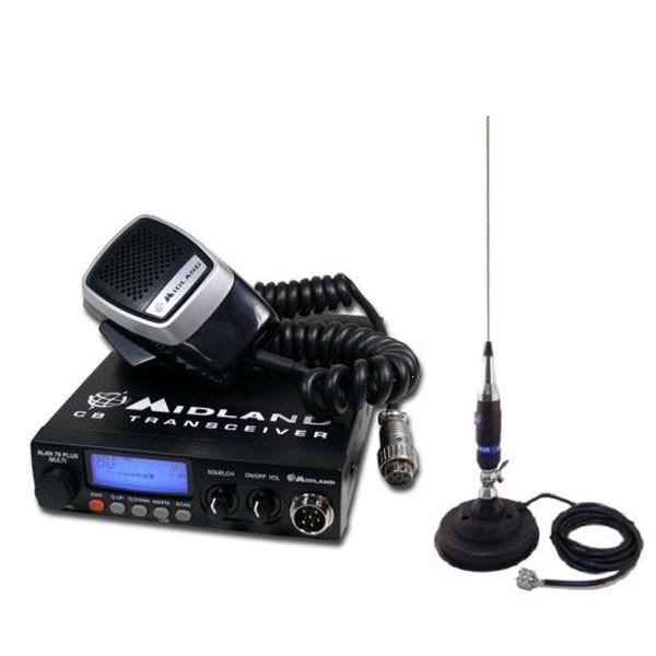 Kit statie radio auto Midland Alan 78 Plus Multi B + Antena CB Midland Alan S9 + baza magnetica