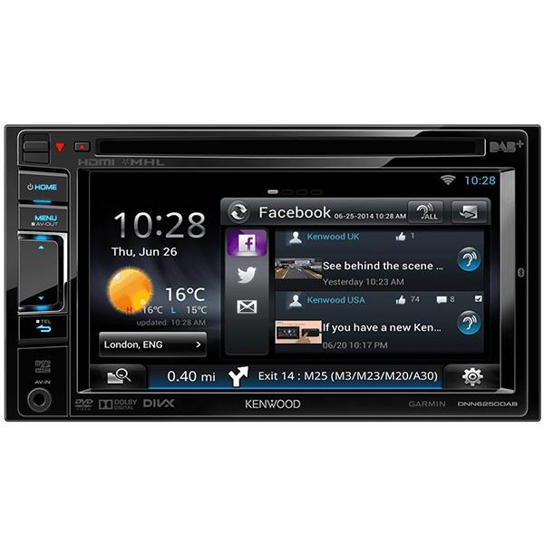 "Multimedia player auto Kenwood DNN-6250DAB, 2DIN, USB, AUX, SD, WiFi, Bluetooth, 4x50W RMS, Touchscreen, ecran 6.1"""