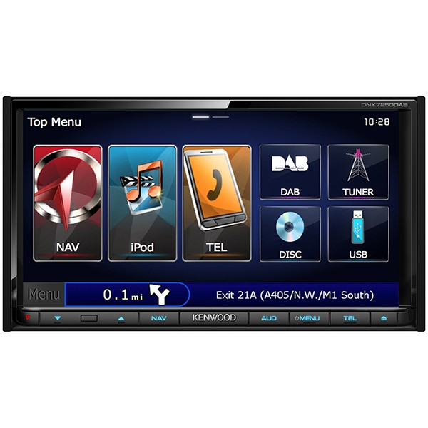 """Multimedia player auto Kenwood DNX-7250DAB, 2DIN, USB, AUX, SD, Bluetooth, iPod/iPhone, 4x50W RMS, Touchscreen, ecran 7"""""""
