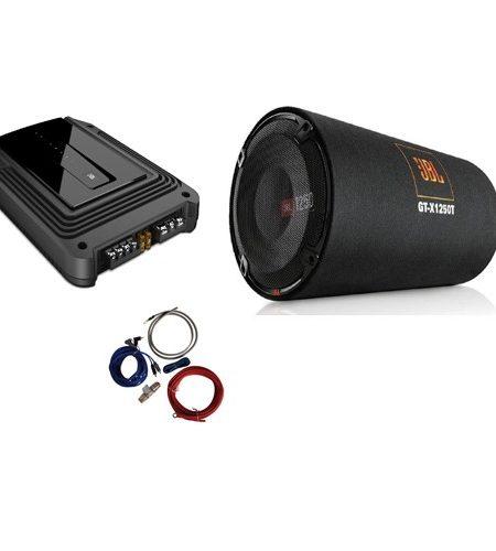 Pachet bass JBL Subwoofer GT-X1250T TUB + Amplificator mono GX-A3001 + 350940 kit cabluri