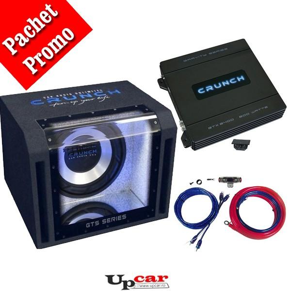 Pachet bass subwoofer Crunch Bandpass  GTS-350, 350W RMS + Amplificator Crunch GTX-2400, 2 canale + CADOU set cabluri RCA 10mm
