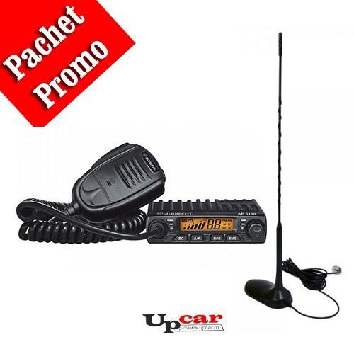 Pachet statie radio auto CB Albrecht AE 6110 + Antena CB PNI Extra 45 lungime 45 cm + Baza magnetica