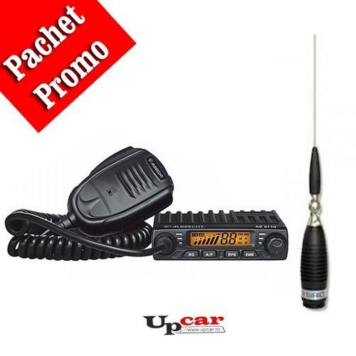 Pachet statie radio auto CB Albrecht AE 6110 + Antena CB Sirio Megawatt 4000 PL, 203.5cm, fara cablu + Baza magnetica