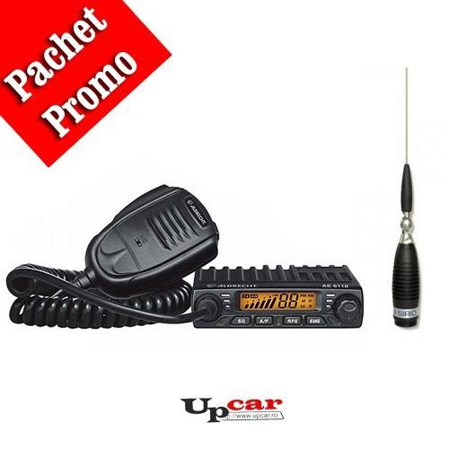 Pachet statie radio auto CB Albrecht AE 6110 + Antena CB Sirio Megawatt 3000 PL, 173.5cm, fara cablu + Baza magnetica
