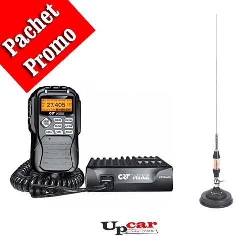 Pachet statie radio auto CB CRT Mike + Antena CB Midland LC65 lungime 114cm + Baza magnetica