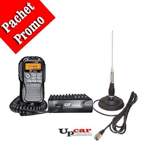 Pachet statie radio auto CB CRT Mike + Antena CB PNI ML100 lungime 100 cm + Baza magnetica
