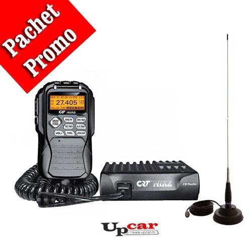 Pachet statie radio auto CB CRT Mike + Antena CB PNI ML145 lungime 145cm + Baza magnetica