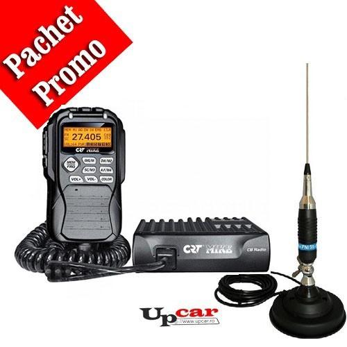 Pachet statie radio auto CB CRT Mike + Antena CB PNI S9 lungime 120 cm + Baza magnetica