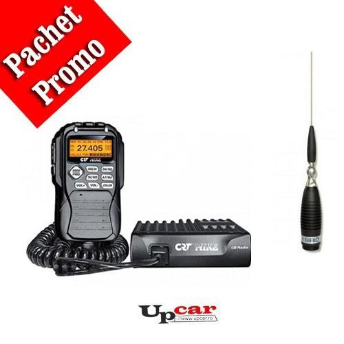 Pachet statie radio auto CB CRT Mike + Antena CB Sirio Megawatt 3000 PL, 173.5cm, fara cablu + Baza magnetica