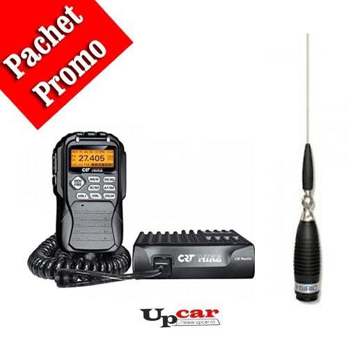 Pachet statie radio auto CB CRT Mike + Antena CB Sirio Megawatt 4000 PL, 203.5cm, fara cablu + Baza magnetica