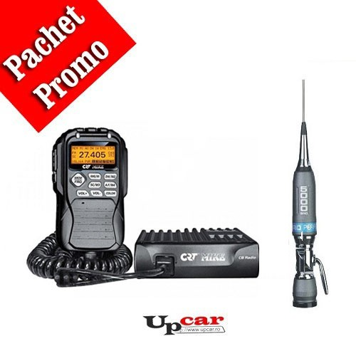 Pachet statie radio auto CB CRT Mike + Antena CB Sirio Performer 5000 PL, 196.5cm, fara cablu + Baza magnetica