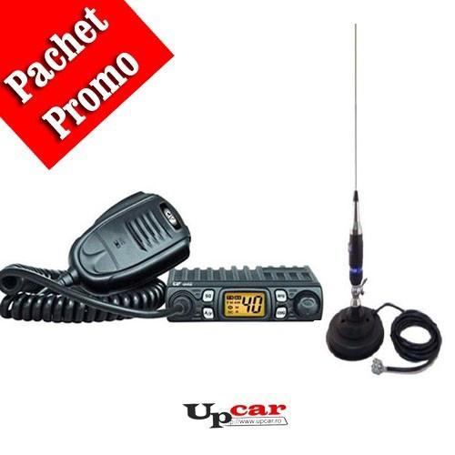 Pachet statie radio auto CB CRT One + Antena CB Midland Alan S9 lungime 160 cm + Baza magnetica