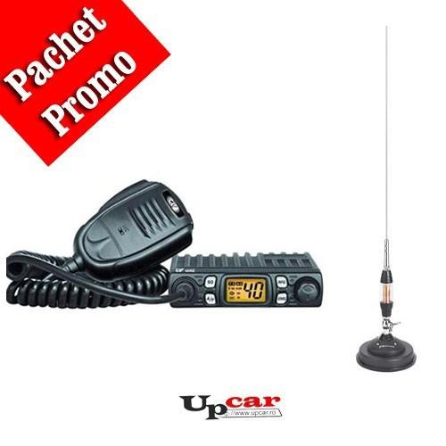 Pachet statie radio auto CB CRT One + Antena CB Midland LC65 lungime 114cm + Baza magnetica