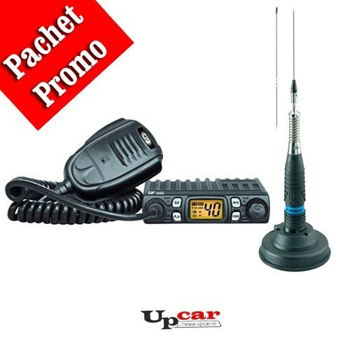 Pachet statie radio auto CB CRT One + Antena CB Midland ML145 lungime 145cm + Baza magnetica