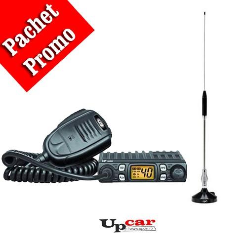 Pachet statie radio auto CB CRT ONE + Antena CB PNI 18-244 lungime 65cm + Baza magnetica