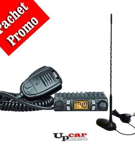 Pachet statie radio auto CB CRT One + Antena CB PNI Extra 45 lungime 45 cm + Baza magnetica