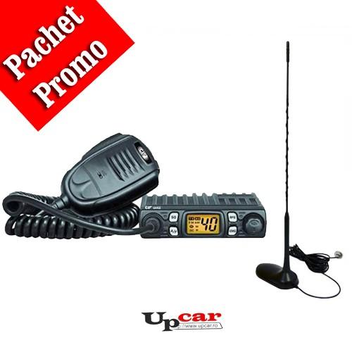 Pachet statie radio auto CB CRT ONE + Antena CB PNI Extra45, lungime 45cm + baza magnetica 90cm