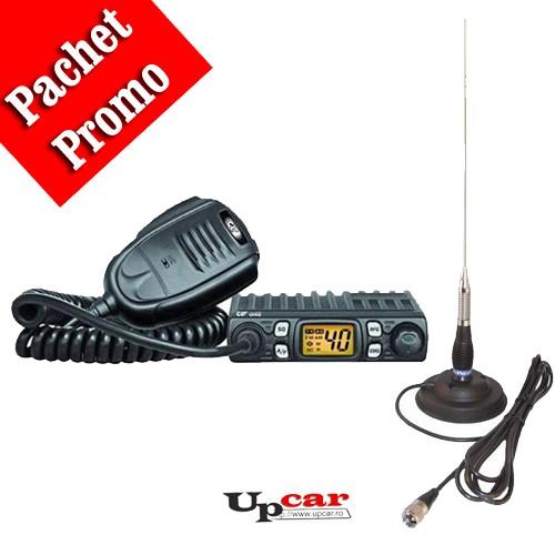 Pachet statie radio auto CB CRT ONE + Antena CB PNI ML100, lungime 100cm + baza magnetica 125mm