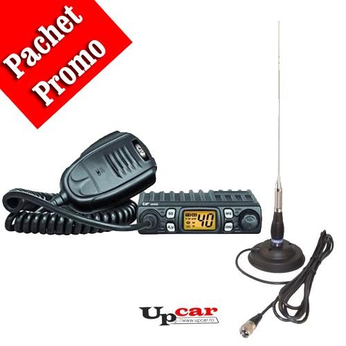 Pachet statie radio auto CB CRT ONE + Antena CB PNI ML160, lungime 145cm + baza magnetica 145 mm