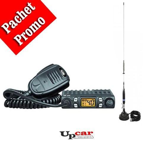 Pachet statie radio auto CB CRT One + Antena CB PNI S75 lungime 75 cm + Baza magnetica