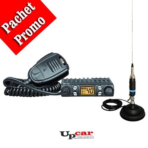 Pachet statie radio auto CB CRT One + Antena CB PNI S9 lungime 120 cm + Baza magnetica