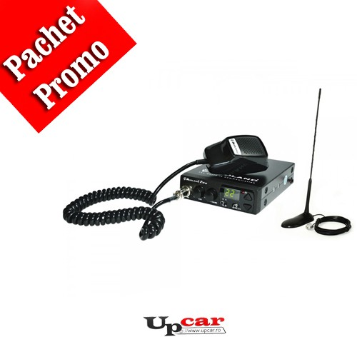 Pachet statie radio auto CB Midland 210 DS cu Squelch Automat + Antena CB PNI Extra 45, lungime 45cm + baza magnetica