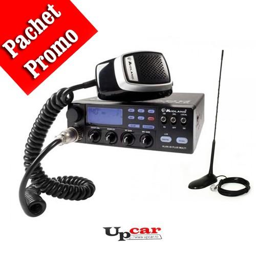 Pachet statie radio auto CB Midland Alan 48 Multi Plus B + Antena CB PNI Extra 45, lungime 45cm + baza magnetica
