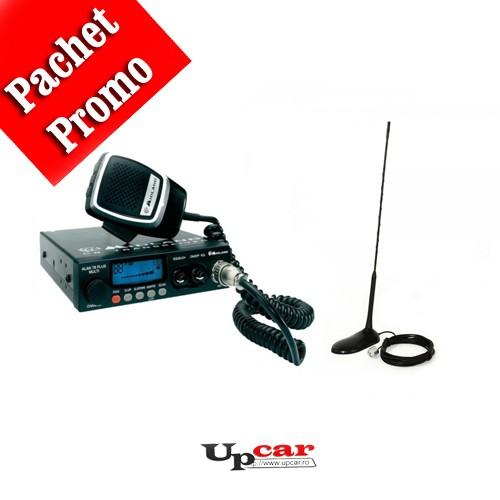 Pachet statie radio auto CB Midland Alan 78 Plus Multi B + Antena CB PNI Extra 45, lungime 45cm + baza magnetica