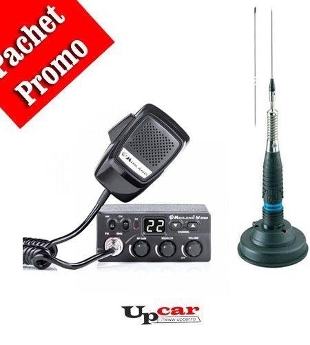 Pachet statie radio auto CB Midland M Zero Plus + Antena CB Midland ML145 lungime 145cm + Baza magnetica